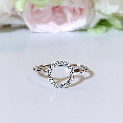 【プチ】18金WG サークルリング ダイヤモンド