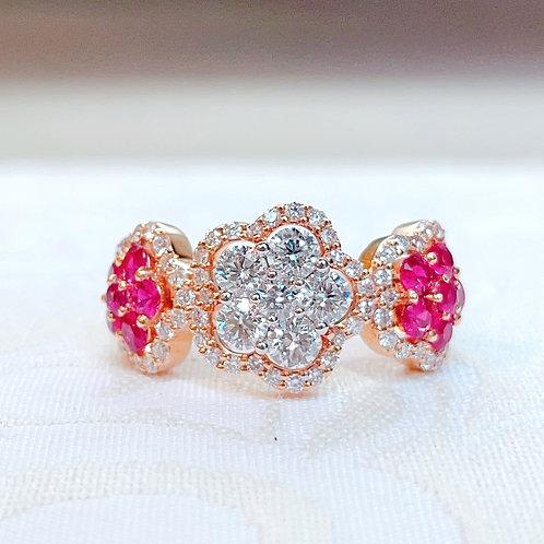 18金PG ルビー&ダイヤモンドのお花サンド リング