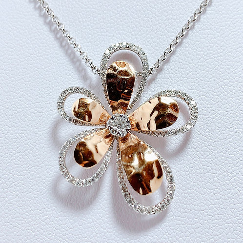 18金PG&WG レイヤードフラワー ダイヤモンド ペンダント