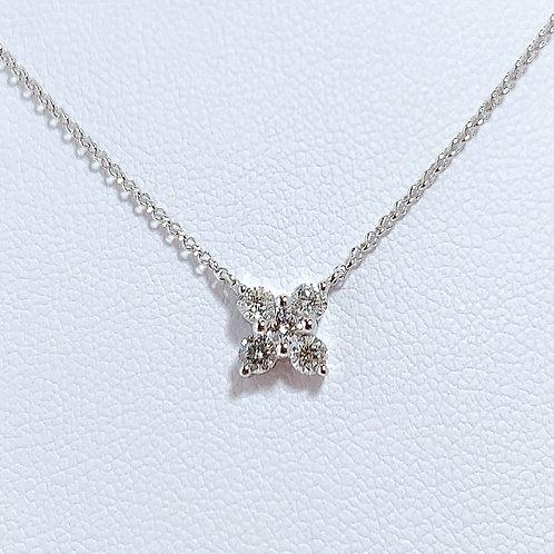 18金WG お花 ダイヤモンド ネックレス 45cmチェーン付き
