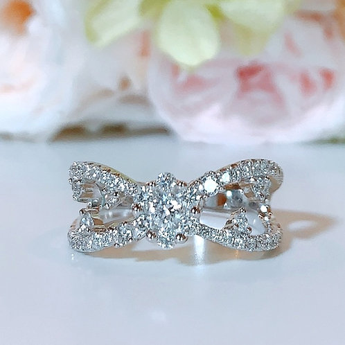 18金WG デザインリボン リング ダイヤモンド