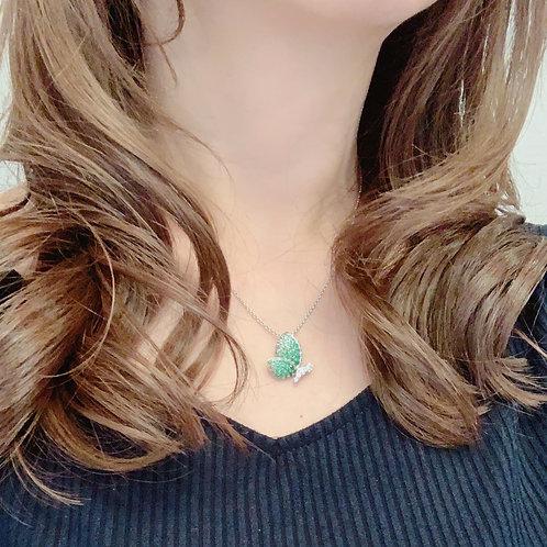 18金WG 横向きパピヨン サファイヤ&ダイヤモンド ネックレス