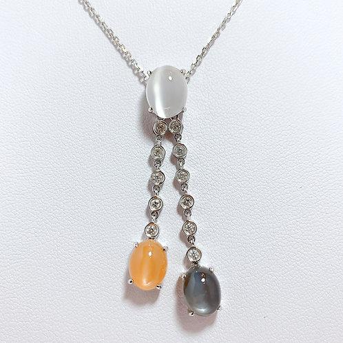 18金WG 3色ムーンストーン ダイヤモンド ペンダント