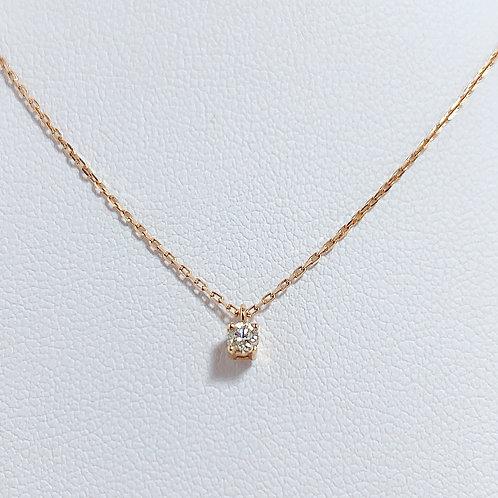 【プチ】18金PG 1粒ダイヤモンド(0.09カラット) ネックレス 45cmチェーン付き