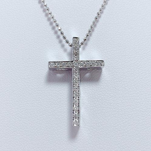 18金WG 立体クロス ダイヤモンド ペンダント