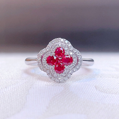 18金WG お花リング ルビー&ダイヤモンド