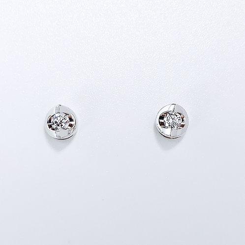 18金WG シリンダー ピアス ダイヤモンド2粒-0.20カラット