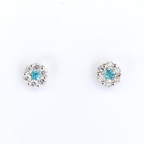 18金WG お花スタッズ ピアス パライバトルマリン&ダイヤモンド ミディアム