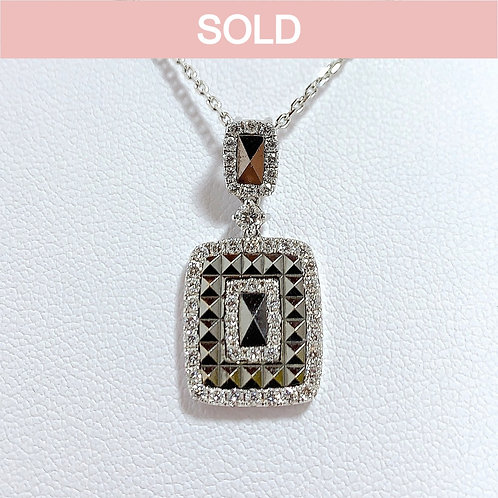 18金WG スタッズフレーム ペンダント ダイヤモンド