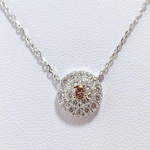 18金WG 天然ピンクダイヤモンド ネックレス