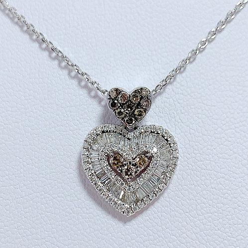 18金WG ダブルハート ペンダント ブラウン&ホワイトダイヤモンド