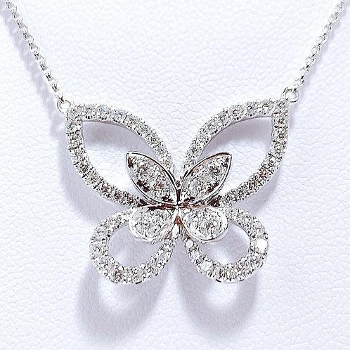 18金WG パピヨン ダイヤモンドネックレス ラージ 42cmチェーン付き