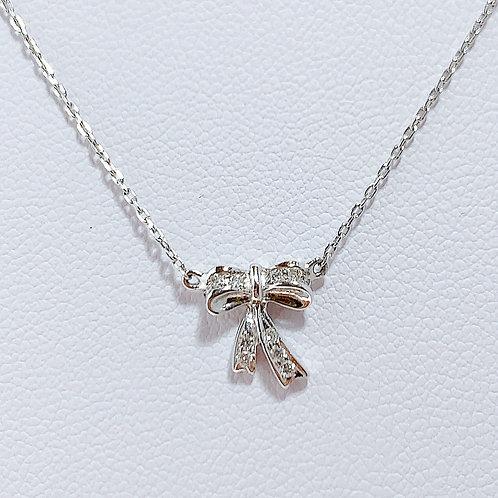 【プチ】18金WG タイニーリボン ダイヤモンド ネックレス