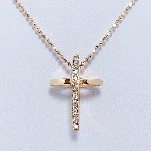 18金PG 立体クロス ダイヤモンド ペンダント