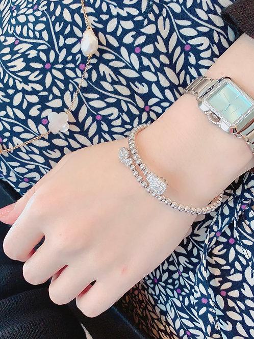 18金WG ダイヤモンドペルレブレスレット