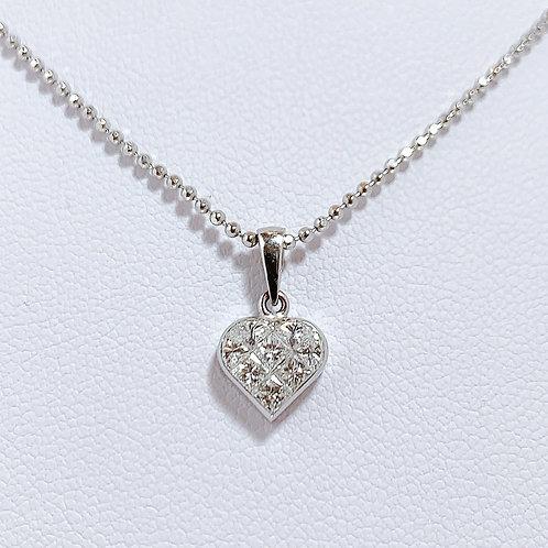 18金WG イスラエル製 ミステリーダイヤモンド ハート
