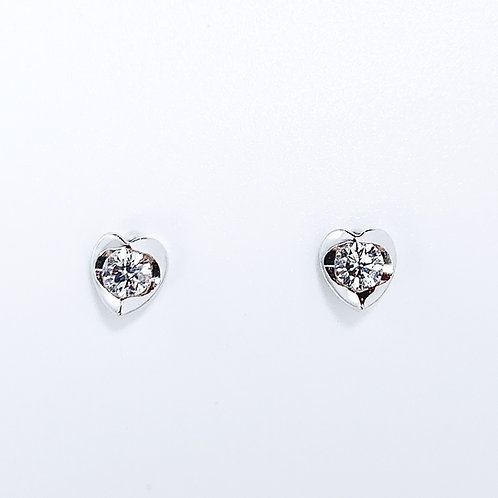 18金WG シンプルハート ピアス ダイヤモンド2粒-0.31カラット