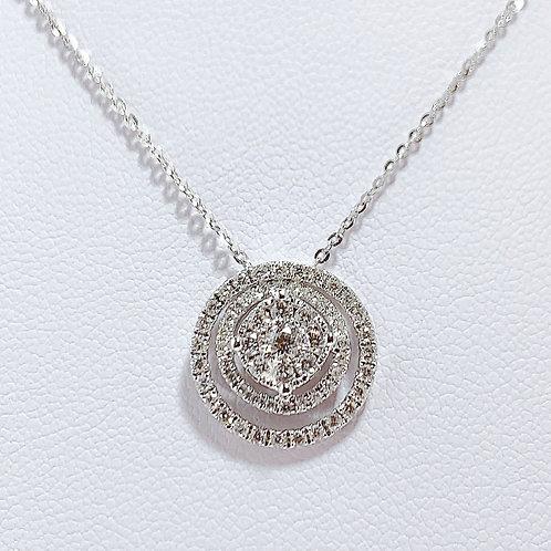 18金WG 3WAY サークル ダイヤモンド ネックレス 40cmチェーン付き