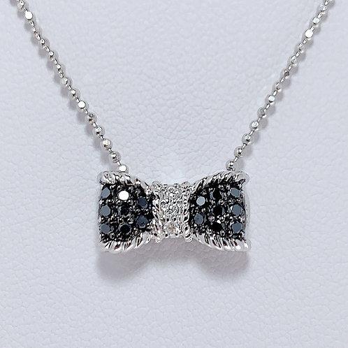 18金WG 蝶ネクタイ ペンダント ブラック&ホワイトダイヤモンド