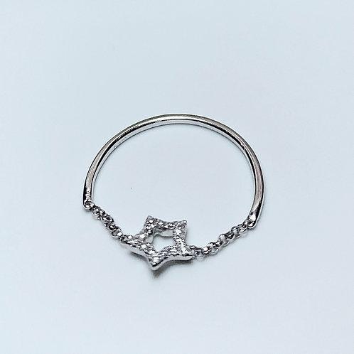 【プチ】18金WG チェーン風リング 星 ダイヤモンド