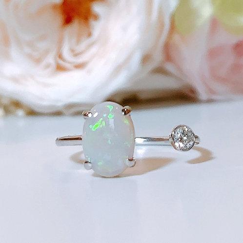 【プチ】18金WG ビトイーンリング オパール&ダイヤモンド