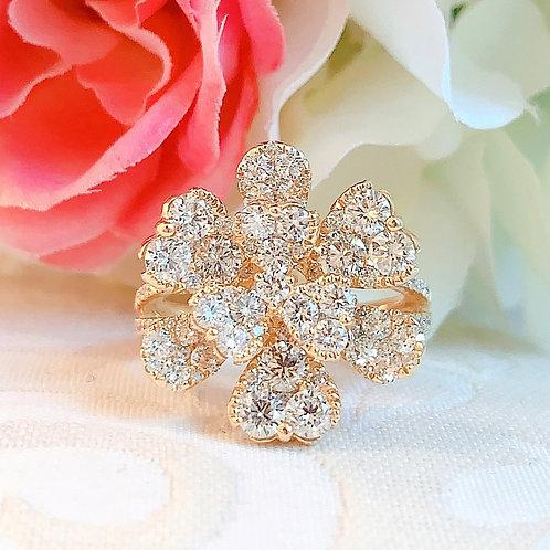 【現品限り】18金YG ダイヤモンド ハートフラワー リング