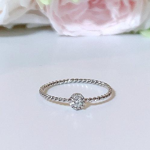 【プチ】18金WG 1粒ダイヤモンドリング