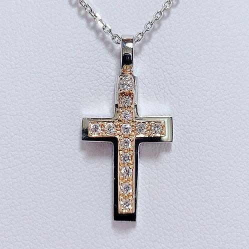 18金WG&PG コンビカラー スライドクロス ペンダント ダイヤモンド