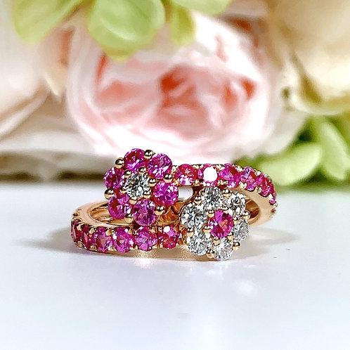 18金PG ダブルフラワーリング ピンクサファイヤ&ダイヤモンド