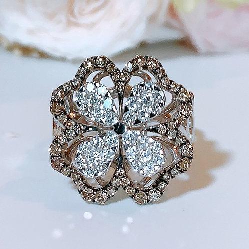 18金WG お花リング ブラウン&ホワイト ダイヤモンド