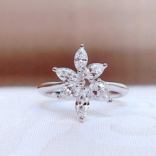【ハイグレード】18金WG ダイヤモンド クラスター リング