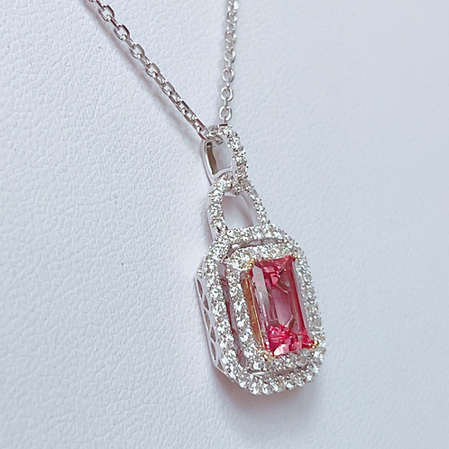 【現品限り】18金WG 希少石!ピンクトパーズ ダイヤモンド ネックレス