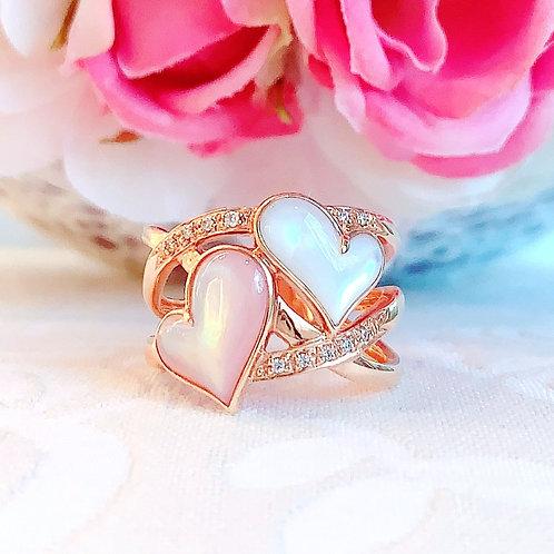 18金PG ピンクホワイトシェル ダイヤモンド ダブルハートリング