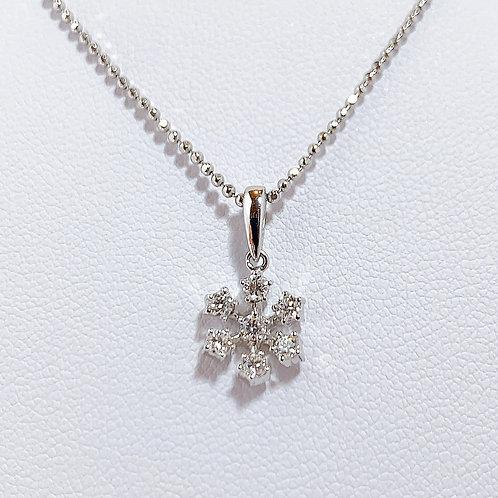 18金WG 雪の結晶 ダイヤモンド ペンダント