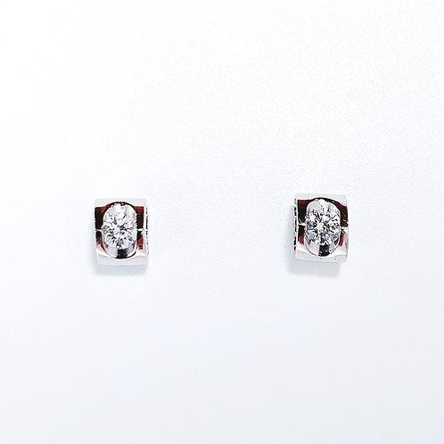 18金WG 横ハート ピアス ダイヤモンド2粒-0.20カラット