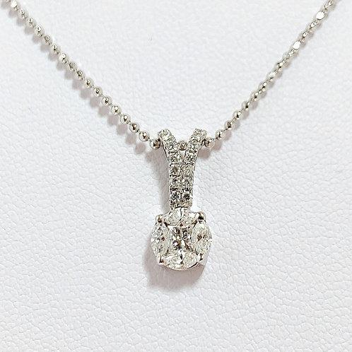 18金WG イスラエル製 ミステリーダイヤモンド ペンダント