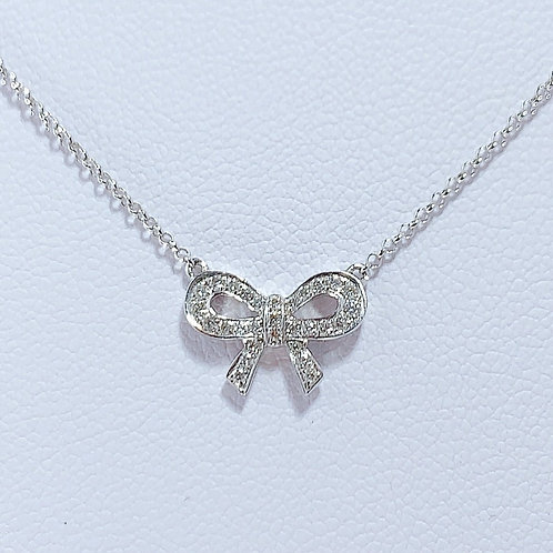 【プチ】18金WG リボン ダイヤモンド ネックレス スモール