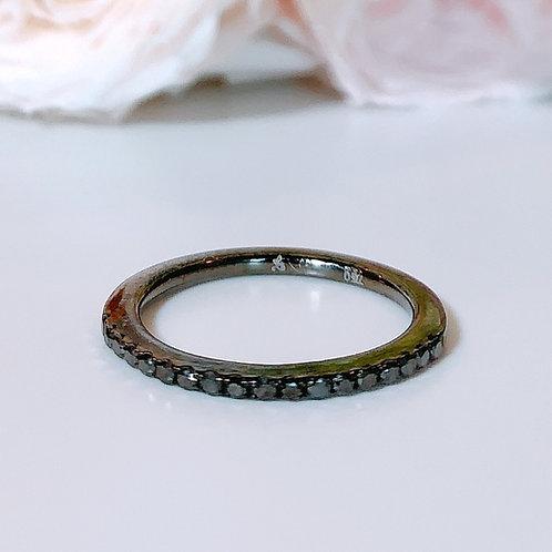 【プチ】18金WG ハーフエタニティリング ブラックダイヤモンド