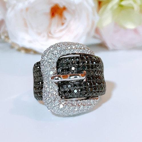 18金WG ベルトリング ブラック&ホワイト ダイヤモンド