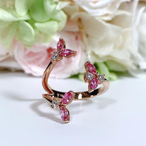 18金PG フラワーブランチリング ピンクサファイヤ&ダイヤモンド
