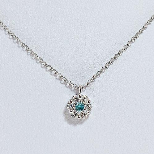 【プチ】18金WG パライバトルマリン お花ネックレス ダイヤモンド