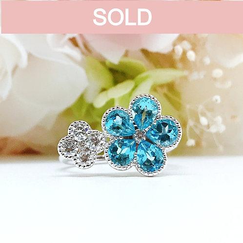 18金WG お花 ブルートパーズ ダイヤモンド リング