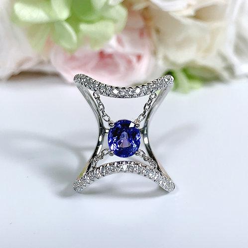 18金WG ハンギングタンザナイト リング ダイヤモンド