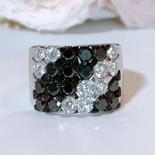 18金WG ボーダーリング ブラック&ホワイト ダイヤモンド