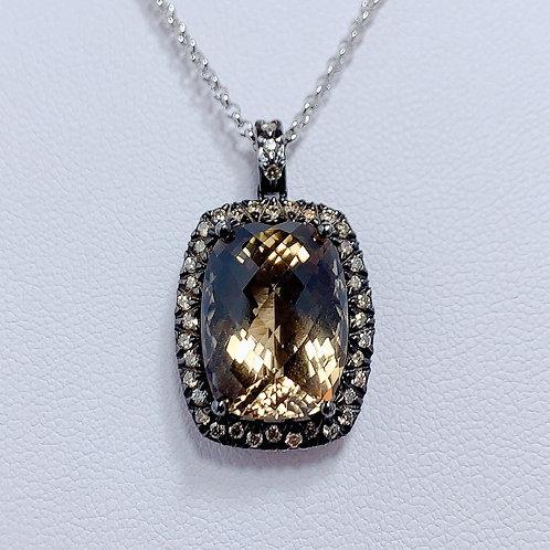 18金WG バレル スモーキークォーツ ブラウンダイヤモンド ペンダント (ラージ)