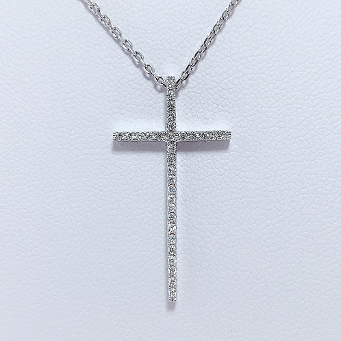18金WG スリムクロス ダイヤモンド ペンダント