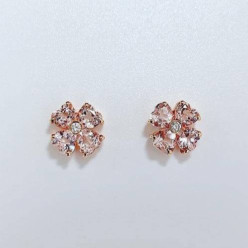18金PG ハートフラワーピアス モルガナイト&ダイヤモンド
