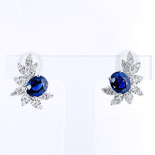 【再入荷】18金WG クラスターピアス サファイヤ&ダイヤモンド