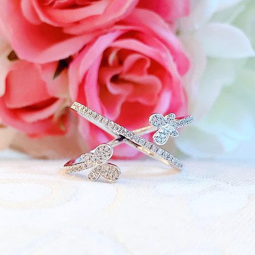 18金WG ダイヤモンド ダブルパピヨン リング