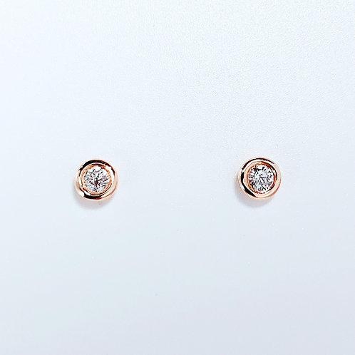 【プチ】18金PG 1粒ダイヤモンド ピアス 2粒-0.14カラット